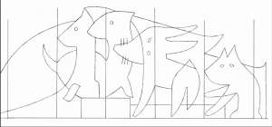 A sketch of Ulrike Müller's mural of animals in black and white