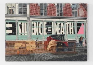 "A painting of the exterior of the Leslie Lohman museum, with ""silence=death"" in the window"