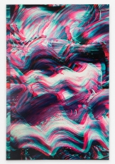 A blue, purple, pink, white, and yellow abstract composition that looks like ocean waves