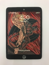 A painting of an iPad with a painting of Hades in red, beige, and brown.
