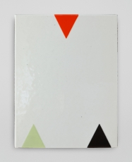 An enamel painting on a white background with 3 triangles (1 red at top, 2 at bottom with one being green and one black)