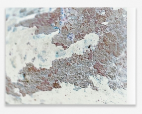 A manipulated photograph in white, brown, and blue