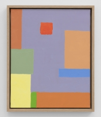 An abstract painting in predominantly orange, yellow, red, green, blue, and purple hues