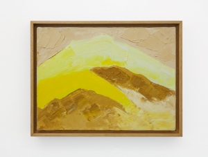 An abstract painting of a mountain landscape in beige, yellow, and orange.