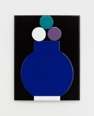An enamel painting with a blue vessel shape and three small circles, on a black background