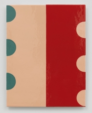 An enamel painting with a red half and a beige half, vertical axis. On each lateral edge are 3 half-circles (green on left, beige on right)