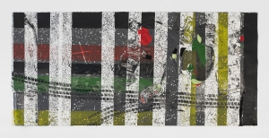 A work on paper with tire marks, yellow, red, and green hues, and mixed media