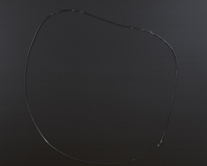 A roughly circular shape on a black ground. The shape is make with a single line of black paint.