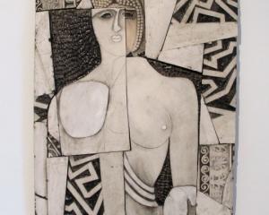 An abstracted figure in tones of grey, white, and black