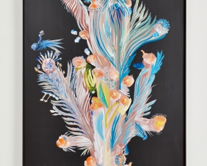 A painting on corrugated black plastic, framed in black. The image looks feathered, with blue and pink tendrils, and orange fuzzy ends to each extreme.