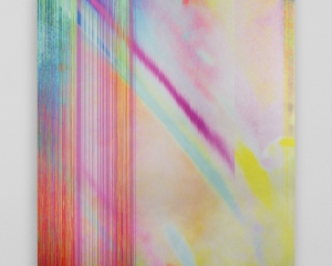 An abstract composition of red, pink, yellow, blue, and green