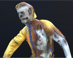 Video still from Late Heavy Bombardment featuring zombie figure in ripped and burned hazmat suit with partial skull face and glowing green eyes
