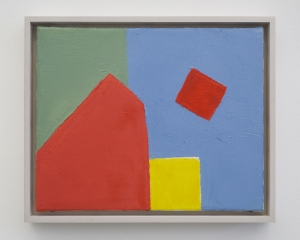Brightly colored painting with geometric shapes in red, green, blue, and yellow