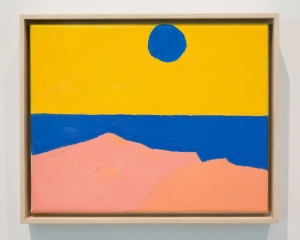 Brightly colored painted abstract landscape scene of pink, blue and yellow