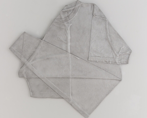 A metal tshirt, folded and flattened