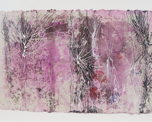 A mixed media, web-looking abstract image with white and black tendrils on a purple and pink background
