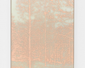 A print made of copper on dibond. There are tall trees with minimal leaves, and a small stream running through the foreground.