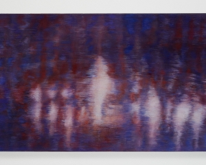An abstract painting made up of blues, violets, maroon, and cream colors