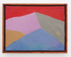 An abstract mountain-scape work with red, pink, orange, gray, and blue