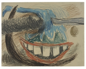 A graphite and crayon drawing on paper with a smile centrally located near the bottom-center. There are swirls of brown, gray, and blue throughout.
