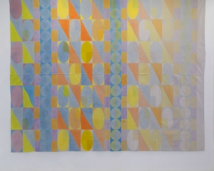 A geometric abstraction that becomes less saturated as you move from left to right; colors start cool at left (purple, green, blue) and shift to a warmer palate of yellow, orange, pink. Mostly triangles, columns of circles, and ovals.