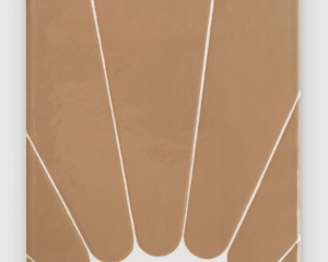 An enamel painting that looks like a sunbeam in white and orange tones