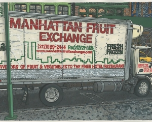 Drawing of Manhattan Fruit Exchange delivery truck on city street