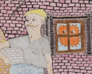 A drawing made with colored pencils that depicts a figure against a brick wall. The style is somewhat cartoonish, with the brick showing up in pink, yellow, and white. There is a childlike sun in the window to the right of the figure.