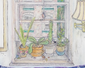 Drawing of houseplants on a window sill