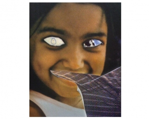 An image of a young girl who's eyes are cut out and collaged with new images. There is a collage element popping up from the lower-right as well