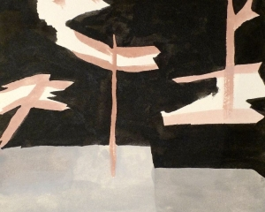 An abstract painting of telephone poles on a plane, mostly black, grey, beige, and red tones