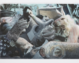An image from a newspaper that has elements of collage and paint over it. The image depicts animal-hybrids layered upon one another. There is an rabbit face, textured areas that resemble feathers or scales, an anteater head, and others.