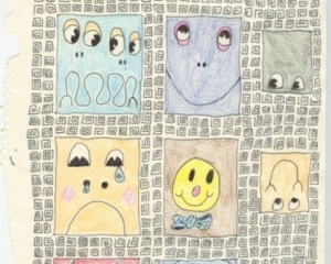 The cover of a notebook with 12 faces within squares, and a pattern background. Cartoonish