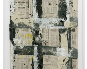 Newspaper pages with acrylic paint