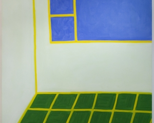An image of an abstracted interior with green floors, a blue square and yellow definition lines