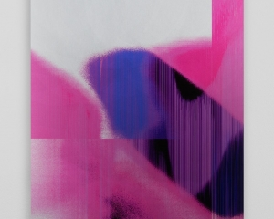 A work screenprinted on aluminum. The bottom half of the vertical work is predominantly fuchsia and pink, with significant striations throughout. The top half is mostly white. The shapes are organic, fissures dissolving.