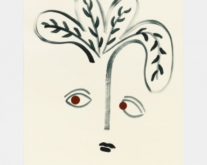 A work on paper that depicts a face (eyes, mouth) with a nose that sprouts into four leaves. The drawing is like a sketch, fluid, impulsive, simple.
