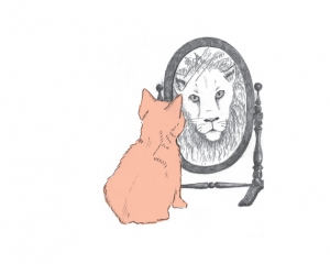 Graphic image of a pink cat looking into a mirror, seeing a lion
