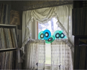 A photograph of the interior of a home, with shelves filled with records at the left and right of a central window. The window has lace and sheer curtains over it, and 5 blue records perched upon the center ledge of the window.