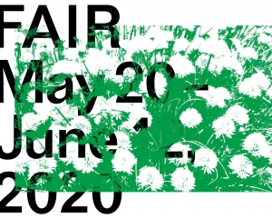A logo for FAIR with the dates and a green flowering background