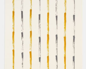 A painting on paper with yellow and black paint arranged in 8 columns. Each column alternates colors, and each column is made with a dry brush that we see expire. There are 4-5 strokes per column.