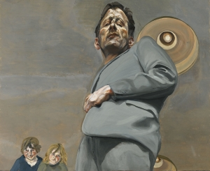 """Lucian Freud, """"Reflection with Two Children (Self-portrait),"""" 1965"""