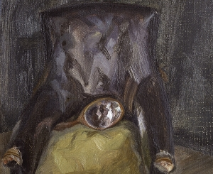 """Lucian Freud, """"Hand Mirror on Chair,"""" 1966"""