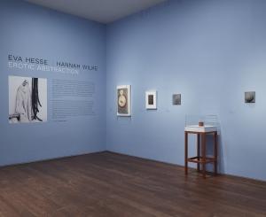 "Installation view of ""Eva Hesse Hannah Wilke: Erotic Abstraction"""