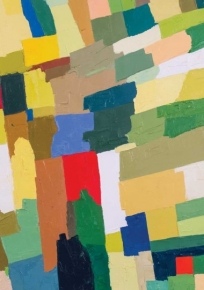 An excerpt of a painting by Etel Adnan, which includes blocks of red, green, yellow, white, blue, and brown