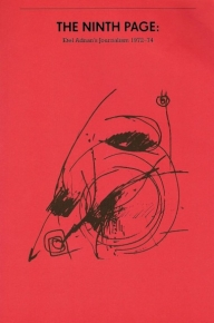 """The front cover of """"The Ninth Page,"""" with a black abstract drawing on the red cover"""