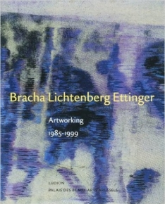 "The front cover of ""Artworking,"" with a purple, blue, and cream drawing by Bracha L. Ettinger"