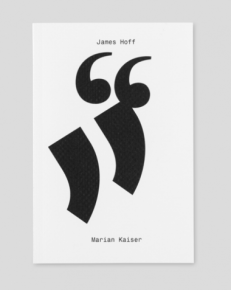 The cover of the book, which has 2 large quotation marks in black and the 2 conversants' names in black text