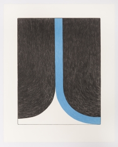 A print of black, white, and blue, that resembles a curtain being opened from the center.