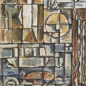 Joaquín Torres-García, Constructif avec homme blanc [Constructive Composition with White Man], 1931